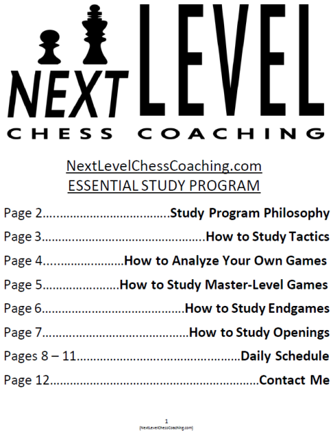NextLevelChessCoaching.com 4-Week Essential Study Program